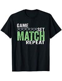 Cool Tennis Tshirt - Game Set Match Repeat - Racquet, Court