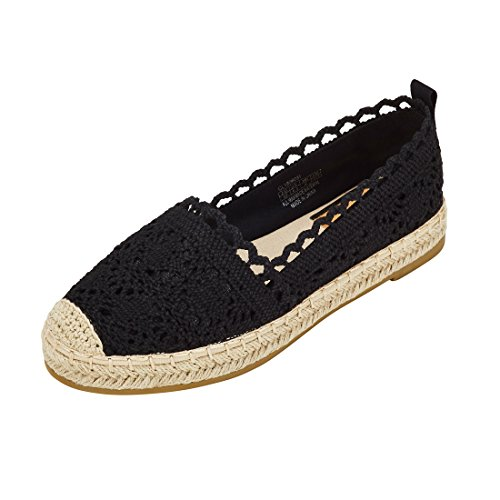 jenn ardor Womens Espadrille Sneakers Hollow Canvas Casual Flats Classic Slip-On Comfortable Shoes