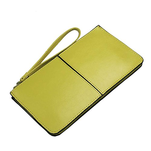 Zipper Lemon Yellow Wristlet Iphone Purse Card Clutch Splice Wallet Women's Leather AX71vOwAq