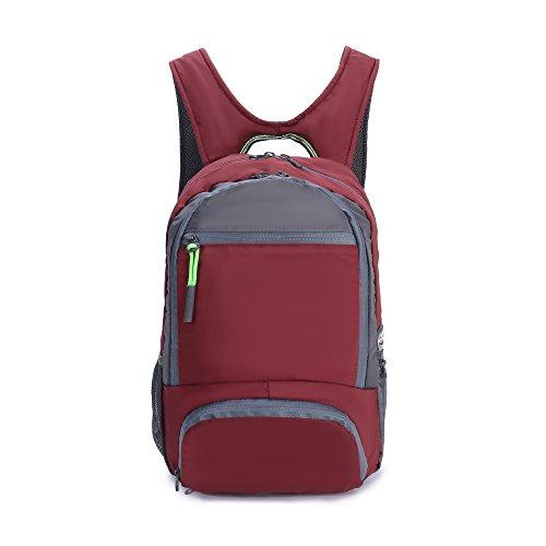 (Yinjue Foldable Backpack Sport Shoulder Bag Gymsack Cinch Sack Knapsack Water Resistant Hiking Daypack Lightweight Packable for Travel Yoga Beach(Red0020))