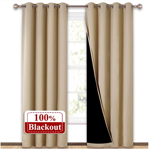 NICETOWN Thermal Insulated 100% Blackout Curtains, Multi-Function Noise Reducing Performance Drapes with Black Lining, Full Light Blocking Drapery Panels for Patio (Biscotti Beige, 1 Pair, 52