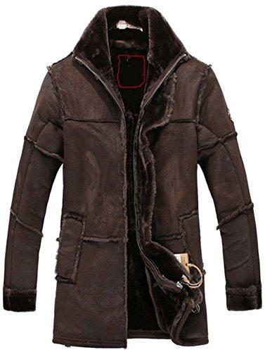 Suede Fur Faux Coat (K3K Men's Winter Thick Warm Vintage Suede Sheepskin Jacket Faux Fur Leather Jacket Cashmere Shearling Long Coat Luxury Overcoat Ladies Women (Medium, Chocolate))