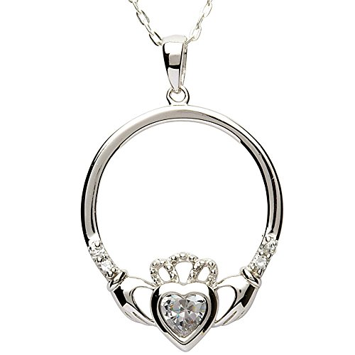 APRIL Birth Month Sterling Silver Claddagh Pendant LS-SP91-4. Made in IRELAND.