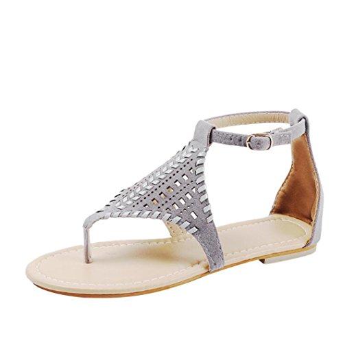 HLHN Women Sandals,Roman Gladiator Hollow Ankle Buckle Strap Flat Heel Flip Flops Open-Toe Shoes Vintage Lady Gray