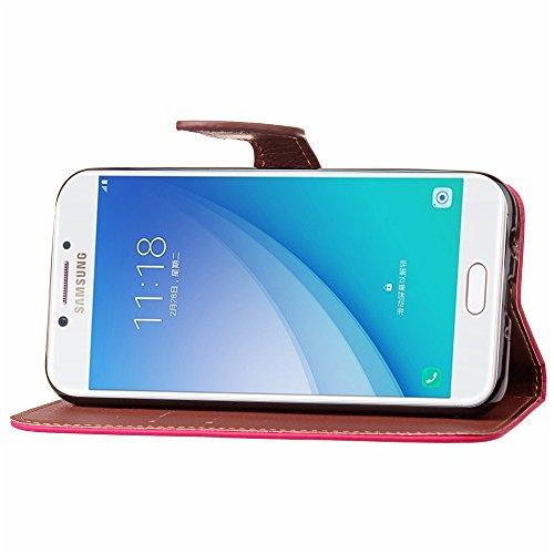 Funda para Samsung Galaxy C7 Pro (C7010) Flip Cuero, Funda Case para Samsung Galaxy C7 Pro (C7010) Cuero Con Tapa, TOCASO Case Funda Classic de Cuero Huella Flor Pattern Hoja del árbol Rose, Diseño Cl