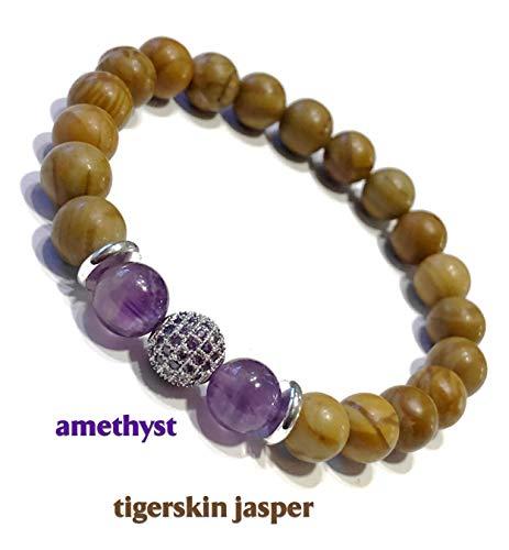Meditation Bracelets | Spiritual Wrap Boho Stretch Reiki Healing Energy Beaded Womens Mens Yoga Jewelry | PEACE OF MIND: Tigerskin Jasper | Amethyst | CZ Diamond Pave Bead Wrsistband