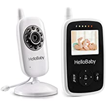 HelloBaby Video Baby Monitor with Night Vision Camera, 2'' LCD Display, Temperature Monitoring, Two Way Talkback System, HB20 White