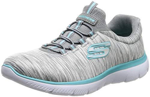 - Skechers Women's Summit Light Dreaming 12984 Lace Up Training Sneaker-Grey/Light Blue-8 B/M US