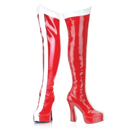 Funtasma by Pleaser Women's Electra-2090 Boot,Red/White Stretch Patent,11 M US (Wonder Woman Boots)