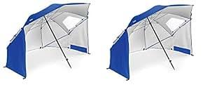 Sport Brella Portable All Weather and Sun Umbrella. 8 Foot Canopy BxIxrl, 2 Pack (Blue)