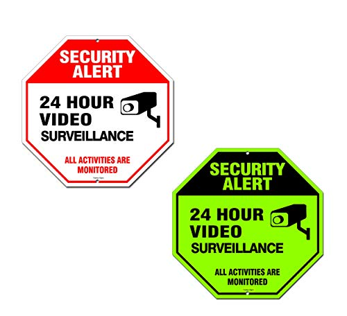(Famtec Video Surveillance Sign - 40 mil Rust Free Aluminium - Glow-in-The-Dark-Signs, Home Business, 24 Hours Security, All Activities are Monitored -CCTV Security Alert-Large 12 X 12 Octagon (Red))
