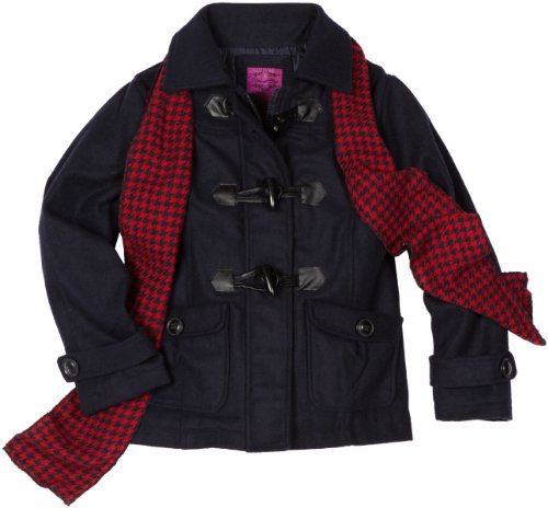 Velvet Chic Big Girls'  Toggle Coat with Scarf