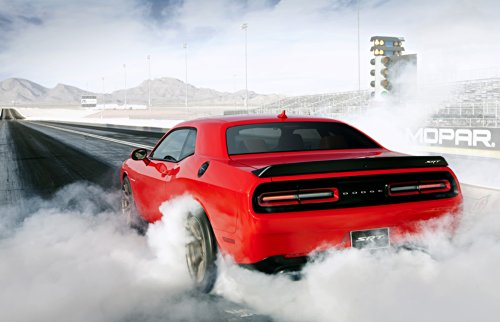 Dodge Challenger SRT Supercharged with HEMI Hellcat Engine (2015) Car Art Poster Print on 10 mil Archival Satin Paper Red Rear Side Burnout View 36