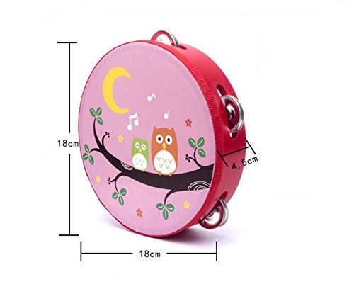 Yingealy Educational Toy 18cm Baby Hand Drum Wooden Flower Tambourine Percussion Instrument (Herbivorous Dinosaur) by Yingealy (Image #3)