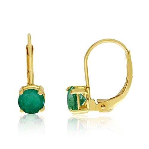 14k Yellow Gold 5mm Emerald Leverback Earrings