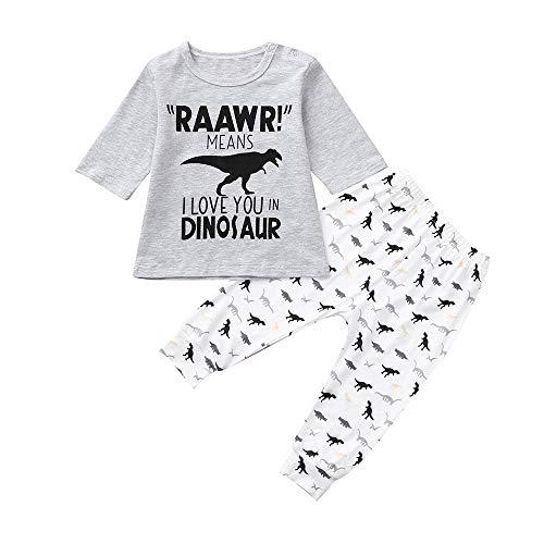Little Boy Dinosaur Pajamas Sets,Jchen(TM) Infant Baby Kids Little Boy Long Sleeve Dinosaur Letter Print Tops Pants Homewear Sleepwear Outfits for 0-5 Y (Age: 0-1 Years Old) -