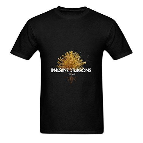 XHNO Men's DIY Imagine Dragons The Fall Crewneck T-Shirts Black