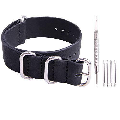 Ritche Genuine Leather NATO strap 22mm Black Replacement timex weekender watch band