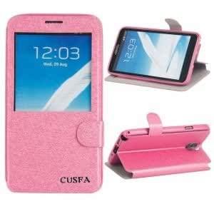 CUSFA Silk Print Pattern PU Leather Protective Case for Samsung Note3 Rose Red