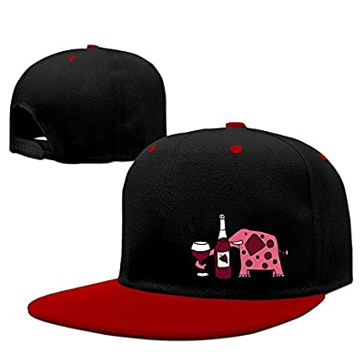 Funny Elephant Drinking Red Wine Solid Flat Bill Snapback Baseball Cap Hip Hop Unisex Custom Hat.