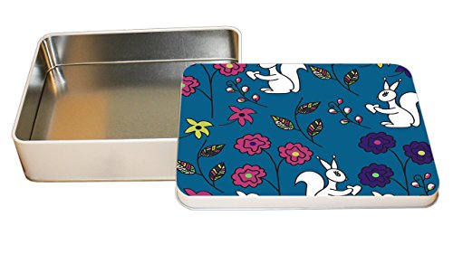 White Squirrels Burgundy Flowers Pattern Decorative Metal Tin Trinket Box 4