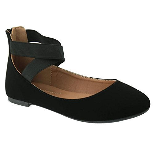[Women's Criss Cross Comfort Elastic Ankle Strap Round Toe Ballet Flat (Black Nubuck)] (Criss Cross Mary Jane)
