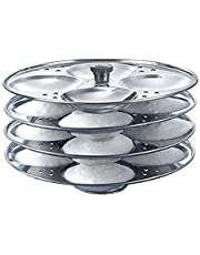 India Stainless Steel Idli Maker Steamer Stand, Pan Cake, Dhokla and Patra Plates Sancha Pot for Pressure Cooker (4 Tier - 16 idly) Idli Stand Idli Maker