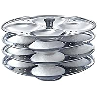 India Stainless Steel Idli Maker Steamer Stand, Pan Cake, Dhokla and Patra Plates Sancha Pot for Pressure Cooker (4 Tier…