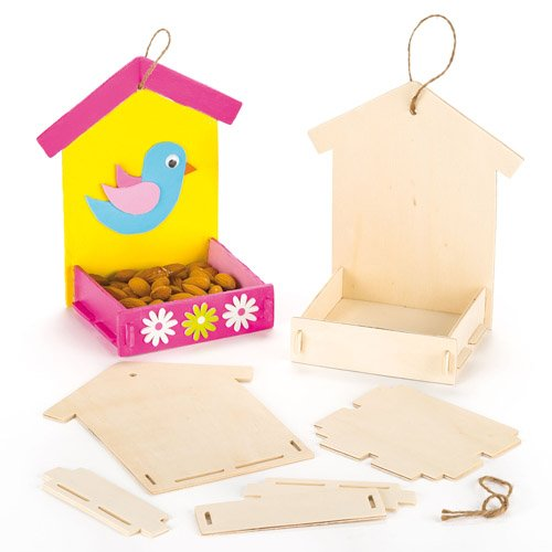 Baker Ross Wooden Bird Feeder Kits for Children to Paint Decorate and Hang (Pack of -