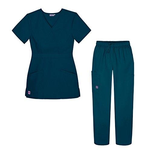 Sivvan Women's Scrub Set - Multi Pocket Cargo Pants & Stylish Mock Wrap Top - S8401 - CBB - M Caribbean Blue