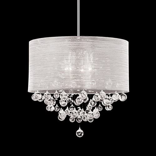 Round Drum Silk Shade 4 Lamp Pendant Crystal Balls Ceiling Light Chandelier Dia 21 X H 20