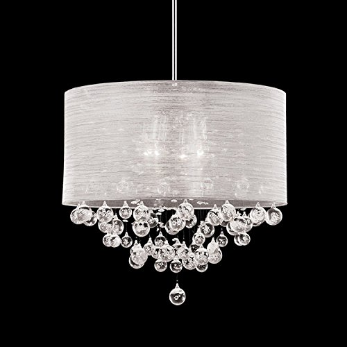Round Drum Silk Shade 4 Lamp Pendant Crystal Balls Ceiling Light Chandelier Dia 21