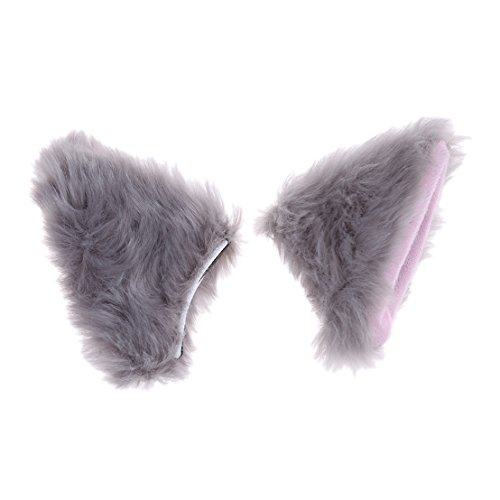 UNKE Anime Cosplay Halloween Party Cat Fox Ears Long Fur Ears,Light Gray