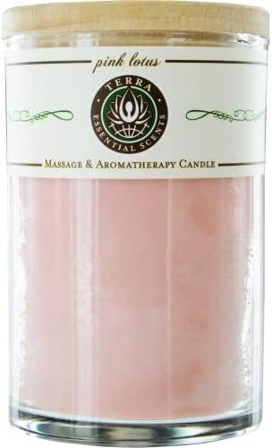 TERRA ESSENTIAL SCENTS Large Candle Pink Lotus, 1 EA