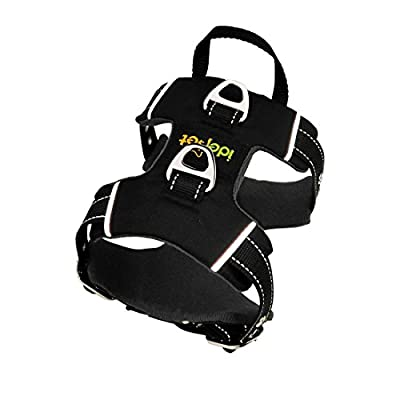 Idepet Front Range No-Pull Dog Harness with Handle Adjustable Reflective Pet Harness Vest Easy Control for Small Medium Large Dogs Training Walking Hiking Black