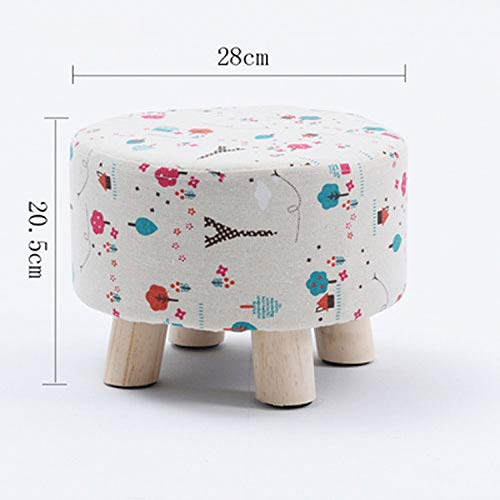 Modern Luxury Upholstered Footstool Nordic Round Pouffe Stool Wooden Leg Pattern Round Fabric 4 Legs,L Style