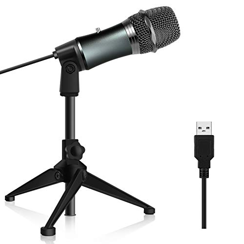 USB Microphone, Kithouse Plug and Play Home Studio USB Condenser Microphone for Skype, Streaming,Recordings for YouTube, Google Voice Search, Games-Windows