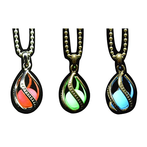 LightOnIt Tear Drop Magical Glow in the Dark Pendant Necklace 3 pack (Blue Green Red)