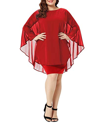 Urchics Womens Casual Chiffon Overlay Plus Size Cocktail Party Knee Length Dress Red XXL-1