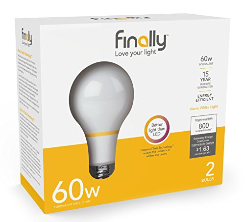 New Finally Light Bulb, 60 watt Equivalent, A19, Pack of 2 Light Bulbs, Long Lasting, Warm White, Non-LED, Energy Efficient, with Tesla ()