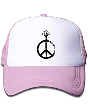 Peace &Tree-1 On Boys and Girls Trucker Hat, Youth Toddler Mesh Hats Baseball Cap