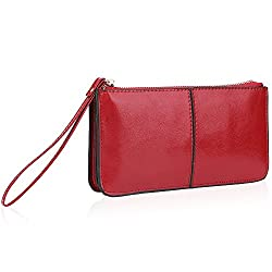 Zip Clutch Wallet with Wrist Strap and 6 Card Slots Fit Iphone6s Plus Samsung Galaxy S4 Rose Red