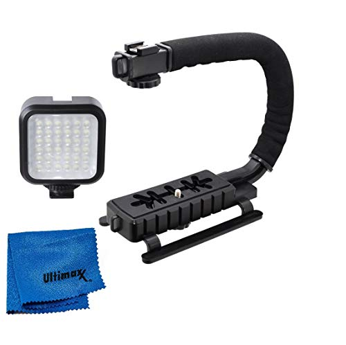 Ultimaxx LED Video Light & Action Stabilizing Handle Package for Canon, Nikon, Sony, Pentax, Sigma, Fuji, Olympus, Panasonic, JVC, Samsung Cameras + Camcorders