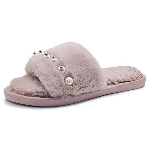 Pearl Peluche Slipper Td Home Hair Inverno Marrone Autunno semplici Fashion Pantofole Flat Misura Marrone e Donna 39yards Cotton Colore PEEwd1xq
