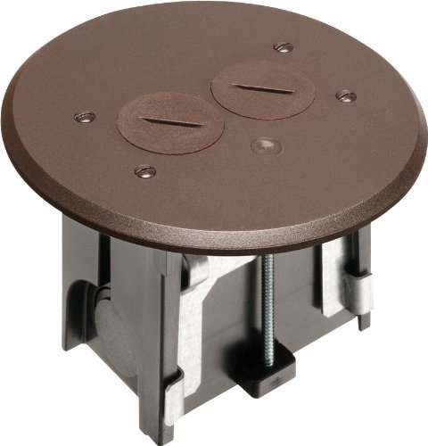 - Arlington FLBAR101BR-1 Adjustable Round Floor Box Kit with Outlet and Plate, for Installed Floors, 1-Gang, Brown, 1-Pack