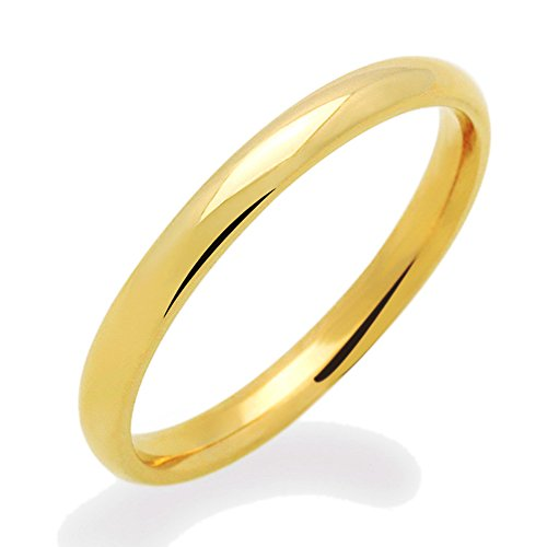 Yellow Gold Domed Wedding Band - Double Accent 14K Yellow Gold or White Gold 2mm Comfort Fit Classic Domed Plain Wedding Band (Size 3 to 11.5), 5