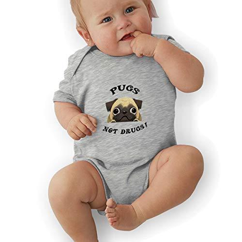 Sheridan ReynoldsFunny Dog Pugs Not Drugs Unisex Infants Cotton Rompers Clothing Gray -