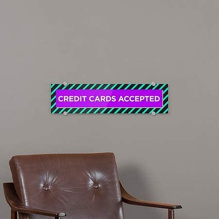 5-Pack 24x6 Credit Cards Accepted Modern Block Premium Acrylic Sign CGSignLab