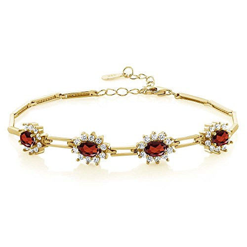 - Gem Stone King 4.20 Ct Oval Red Garnet 18K Yellow Gold Plated Silver Bracelet