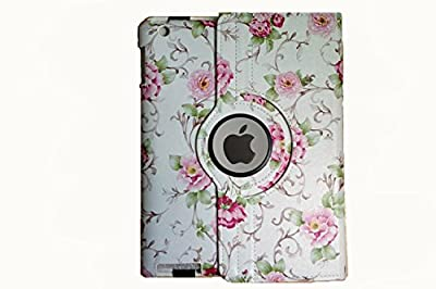 iPad Air Case, 360 Rotating Magnetic Synthetic Leather stand Case Smart Cover For Apple New iPad 5th 6th Generation (Wake/sleep Function) Apple iPad Air, iPad Air2(the new iPad)(White) by Jenpu